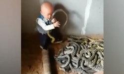 อึ้ง หนูน้อยวัยเตาะแตะจับงูเล่น หยิบจากฝูงส่งต่อให้พ่ออย่างชอบใจ