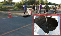 พบหลุมขนาดใหญ่กลางถนนลาดยาง ชาวบ้านวอนหน่วยงานแก้ไข-หวั่นเกิดอุบัติเหตุ