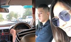 """""""นุสบา"""" แอบถ่ายคลิป """"น้องปุณณ์"""" ขับรถให้แม่นั่ง หลังลูกชายเพิ่งสอบใบขับขี่ได้"""