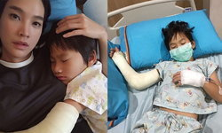 """""""ตุ๊ก ชนกวนันท์"""" นั่งเฝ้าไข้ """"น้องภูมิ"""" แขนขวาเข้าเฝือก แขนซ้ายให้น้ำเกลือ ป่วยหนักรับต้นปี"""