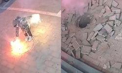 แม่ ช่วยผมด้วย! เด็กชายจีนเล่นพลุ จุดใส่ท่อระบายน้ำ ระเบิดสนั่นถนนพังยับ (คลิป)