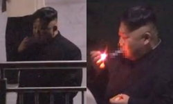 """ถ่ายทัน! """"คิมจองอึน"""" ท่านผู้นำสายควัน แวะสูบบุหรี่ขาไปเวียดนาม แถมใช้ไม้ขีดจุด"""
