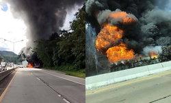 ระทึก! รถบรรทุกน้ำมันเฉี่ยวเก๋ง ก่อนพลิกคว่ำ-ไฟลุกท่วม ตายคาที่ 1 ศพ