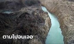 ชาวบ้านผิดสังเกต น้ำล้นลำรางทั้งที่เป็นหน้าแล้ง ตามหาจนพบปลายท่อน้ำเสียโรงงาน