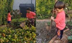 """""""สายฟ้า-พายุ"""" รับบทเกษตรกร ช่วยกันเก็บผัก ขุดดิน บ้านคุณยายหนิง"""