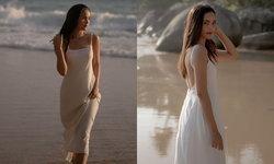 """""""ญาญ่า"""" สวมเดรสขาวสุดชิล แฟนคลับแห่แซวเดินเล่นชายหาดยังไงให้ดูแพง"""