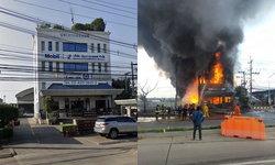 ไฟไหม้คลังเก็บน้ำมัน คุมเพลิงได้แล้ว เปิดภาพก่อน-หลัง เพลิงผลาญตึกสำนักงาน
