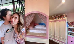 """""""น้องรีนา"""" ลูกออย ธนา พาทัวร์ห้องนอนสีชมพูน่ารัก """"เอมี่ กลิ่นประทุม"""" แทบกรี๊ด สไตล์เจ้าหญิงสุดๆ"""