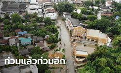 แม่สอดอ่วม! น้ำเมยลดลงแต่ฝนตกหนัก น้ำป่าระลอกใหม่ท่วมเมืองซ้ำ โควิดก็ยังวิกฤต