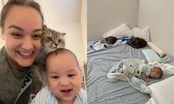 """""""นาตาลี"""" กับภาพสุดน่ารัก """"น้องเบน"""" นอนเล่นหลับปุ๋ยไปพร้อมกับแมว 2 ตัวสุดอบอุ่น"""