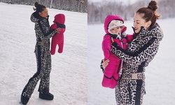 """""""ลิเดีย"""" อุ้มน้องเดมี่ ตะลุยหิมะครั้งแรก ลูกสาวนิ่งมากอย่างกับตุ๊กตา"""