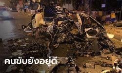 """ชาวเน็ตแทบไม่เชื่อสายตา ภาพอุบัติเหตุรถชนแหลกเป็นชิ้นๆ ส่วนคนขับ """"เจ็บนิดหน่อย"""""""