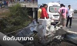 รถบรรทุกเวทีคอนเสิร์ตชนราวสะพานชลบุรี เด็กรถขาขาด 2 ข้าง คาดคนขับหลับใน