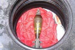 พบระเบิด อาร์พีจี วางหน้าหมู่บ้านกลางกรุงปูผ้าแดง