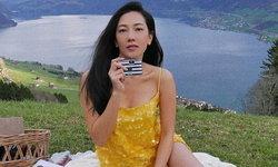 """""""นุ่น วรนุช"""" นั่งถ่ายรูปชมวิวภูเขา แต่งานนี้ดันถูก ท่าโพสในชุดเดรสสั้นแย่งซีน?"""