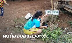 สาวท้อง 6 เดือนจุดธูปขอเลขเด็ดกระบะชนเสาไฟฟ้า ชาวบ้านรีบมุงหวังรวยด้วย
