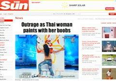 ดังทั่วโลก! สื่อนอกตีข่าว สาวไทยถอดเสื้อวาดรูป