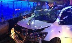 อุบัติเหตุเก๋งวีออสเสยท้ายรถ 6 ล้อดับบนถ.รัชดา