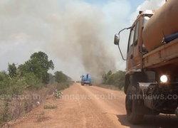 ชัยนาทร้อนจัดไฟไหม้ป่ากว่า20ไร่หวิดเผาปั๊มแก๊ส