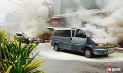 รถตู้ติดแก๊สไฟลุกพรึ่บ กลางสี่แยกเมืองคอน ลามวอด 2 คัน