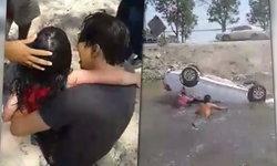 ชาวเน็ตยกย่อง! คลิปนาทีชีวิต พลเมืองดีช่วยคนติดรถคว่ำตกคูน้ำ