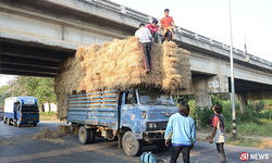 รถบรรทุกฟางสูง 4 เมตรชนสะพาน เด็กท้ายรถร่วงหน้าทิ่ม