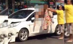 อึ้ง! สาวเปลือยขับฟอร์ดย้อนศรชนระนาว 3 คัน ตกใจปีนออกหน้าต่างรถ ตร.เผยป่วยทางจิต