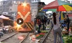 พี่จีนก็มี ตลาดร่มหุบ วางของสดขายบนทางรถไฟ