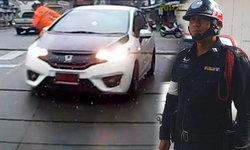 ตำรวจในคลิป  เก๋งเฉี่ยวชนบนทางม้าลาย  วอนคนขับรถปฎิบัติตามกฎจราจร