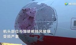 สุดระทึก! เครื่องบินเจอพายุลูกเห็บยักษ์ซัดจนจมูกยุบ-กระจกร้าว