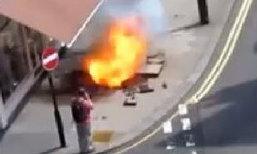 """อึ้ง! """"ชายสุดโชคดี"""" รอดชีวิตจาก เหตุลูกไฟระเบิดบนทางเท้า"""