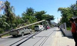 รถบรรทุกชนเสาไฟฟ้าล้ม 7 ต้น ประชาอุทิศ 76 คนเจ็บ
