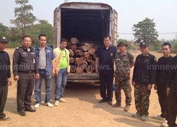 ทหาร-ตำรวจ-ป่าไม้อุบลจับมือตรวจยึดไม้พะยูง