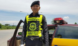 เจอตัวเป็นๆ ดาบตำรวจ พากย์ไฟแล่บ เร่งระบายรถช่วงวันหยุด