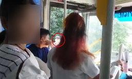 ผู้โดยสารอึ้ง รถเมล์เบียดจยย.ล้ม หนุ่มคนขี่ตามจี้ด่า