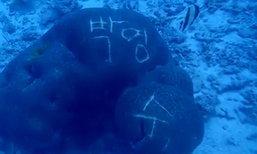 วิจารณ์หนัก นักท่องเที่ยวมือบอน เขียนภาษาเกาหลีบนปะการัง ใต้ทะเลลึกหมู่เกาะสิมิลัน