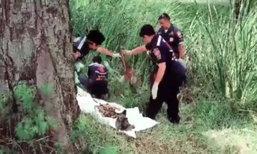 ผงะ! คนเก็บของเก่าพบโครงกระดูกปริศนา ในร่องน้ำเกาะกลางถนนพระราม 2