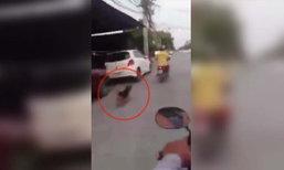 สะเทือนใจ ! ลุงใจร้าย ขี่ จยย. ล่ามคอสุนัขท้ายรถให้วิ่งตามอย่างทรมาน