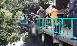 สลด! หนุ่มวัย 18 ปี ใช้เชือกผูกรองเท้า ผูกคอดับกับราวสะพานเลียบคลอง