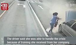 คนขับรถเมล์หญิงจีนสติดี คุมไฟไหม้เก๋งใกล้ปั้มน้ำมันได้อยู่หมัด