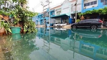 โวยหนัก! น้ำท่วมขังทางเข้าหมู่บ้านเป็นสีเขียวมรกต-กลิ่นสารเคมี คาดมาจากโรงงานมักง่าย