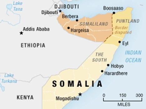 ประเทศโซมาลีแลนด์ (สีน้ำตาลอ่อน) ประเทศโซมาเลีย (สีเหลือง)