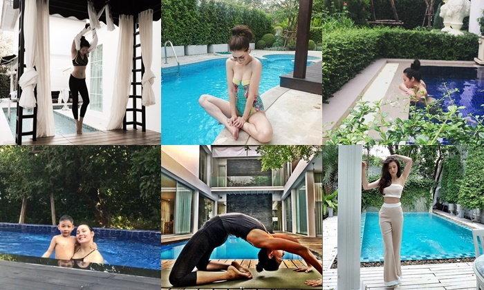 """ส่องมุมพักผ่อน """"สระว่ายน้ำ"""" ในบ้านสวย ของ 6 นางเอกดัง"""