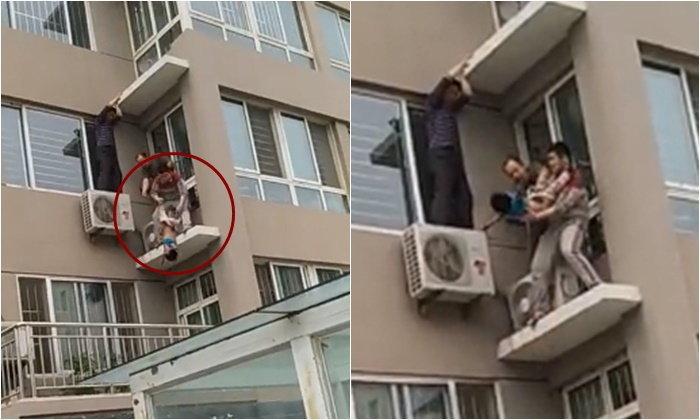 สุดหวาดเสียว เด็กชายตกตึกชั้น 5 เพื่อนบ้านปีนระเบียงชั้น 2 คว้าขาไว้ทัน
