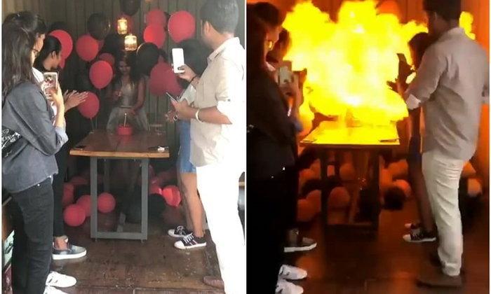 สุดสยอง สาวจุดเทียนเค้กวันเกิดใกล้ลูกโป่ง เกิดระเบิดสนั่นไฟลุกโชน