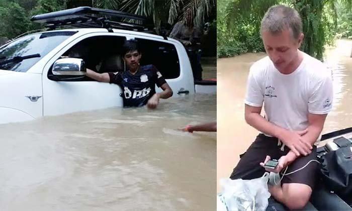 """ชาวบ้านแห่ช่วย! นักดำน้ำต่างชาติเคยช่วย """"ทีมหมูป่า"""" ถูกน้ำซัดรถจมคลอง"""