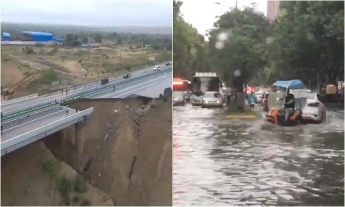 ส่านซีเจอฝนกระหน่ำ ทำสะพานถล่มกลืนรถ 1 คัน เปลี่ยนเมืองเตาไฟกลายเป็นเมืองน้ำ
