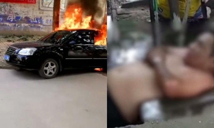 หวิดถูกคลอกดับทั้งเป็น ชายเมานอนหลับในรถติดเครื่อง เกิดไฟลุกไหม้ขึ้นเอง