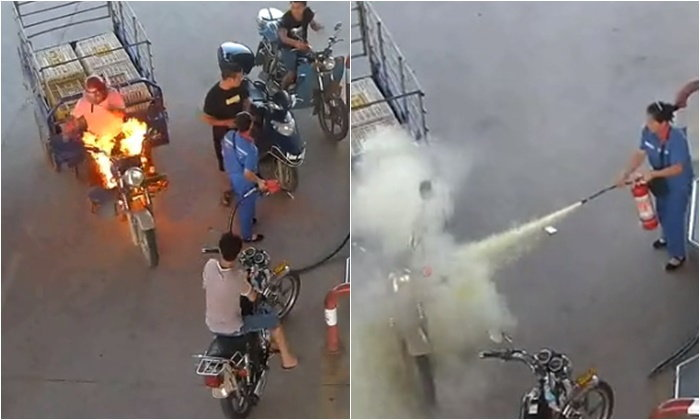 สามล้อไฟลุกกลางปั๊มน้ำมัน พนักงานหญิงใจนิ่งรีบคว้าถังดับเพลิงฉีดทันควัน