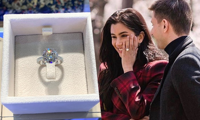 """ซูมชัดๆ แหวนขอแต่งงาน """"ปู ไปรยา"""" เพชรเม็ดโตน้ำงาม 7 กะรัต"""